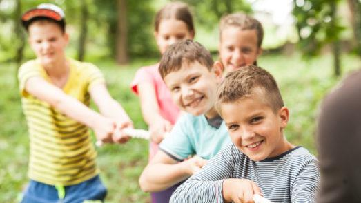 Boys playing tug-o-war