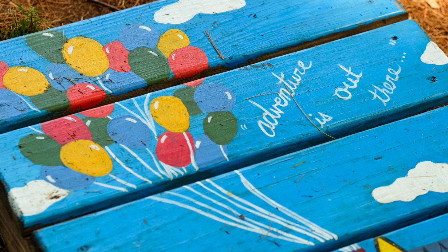 "Pallet board painted with a scene of the balloons from the movie Up and the quote ""adventure is our there"""