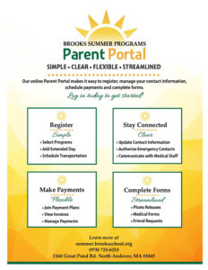 Parent portal flyer with instructions on how to register